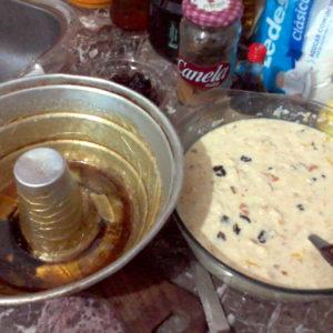Foto de la preparación del budín de pan