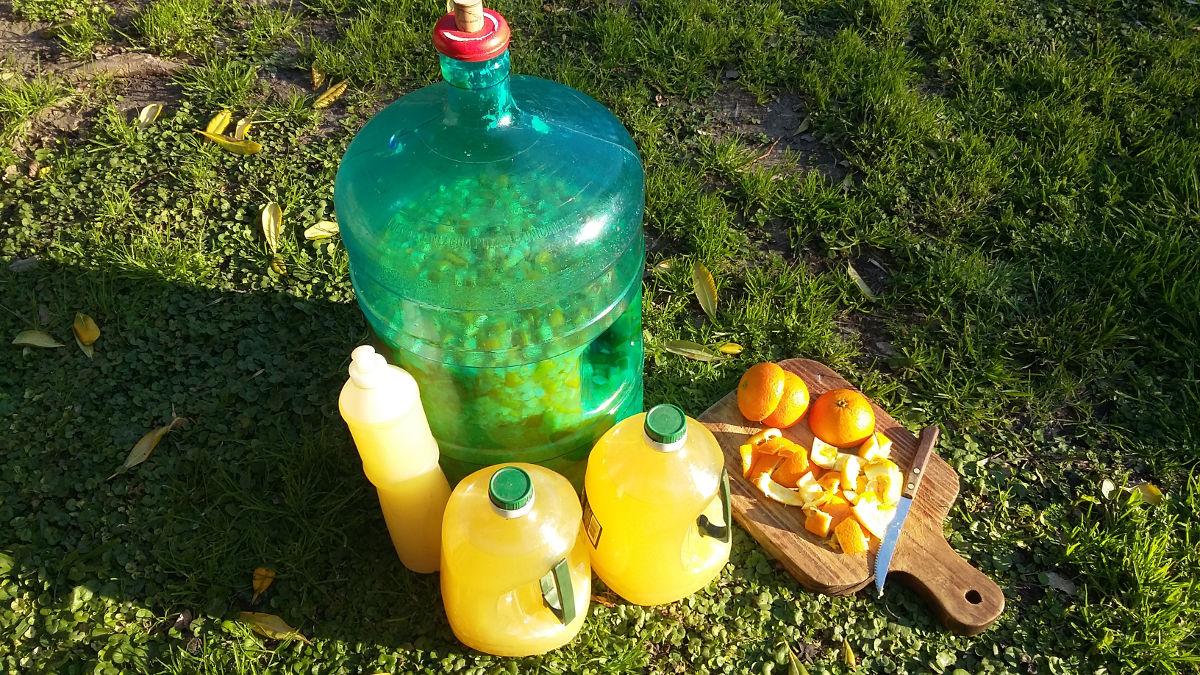 Elementos para la preparación del detergente ecológico de naranjas